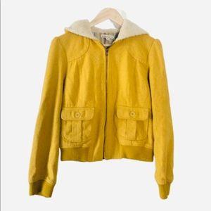 Forever 21 Wool Blend Hooded Bomber Coat - L